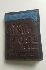 Trifold Wrangler Hero Wallet Men Brown Leather with a Strip of Denim