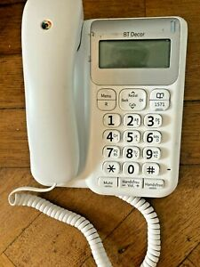 BT Decor 2200 White Corded Telephone with Caller Display Handsfree - USED (G10)
