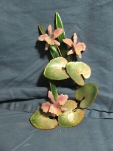 Vintage Bovano of Cheshire Enamel on Copper Orchid Blossoms Wall Art