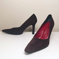 Vintage Yves Saint Laurent brown suede high heel shoes Size 7.5 N