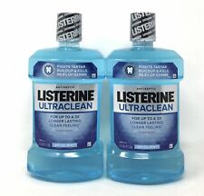 (2) Listerine Ultraclean Antiseptic Mouthwash Mouth Rinse Arctic Mint 1L 33.8 oz