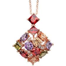 "Square multi colour rose gold finish pendant 16-18"" necklace UK dress jewellery"