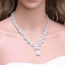 Teardrop Dangle Flower Platinum Plated Cubic Zirconia Necklace Birthday Gift