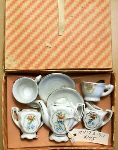 Child's-Small Toy China Tea Set with Box Made in Japan-vintage
