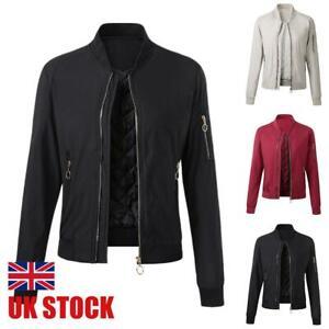 Womens Bomber Jacket Ladies Classic Zip Up Biker Flight Winter Coat Tops Outwear