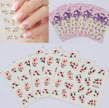 5 Sheets Floral Nail Art Water Decals Transfers Sticker Beautiful Flower Design