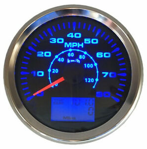 85mm Car GPS Speedometer Gauge 0-80MPH 120km/h Speed Odometer 8Colors Backlight