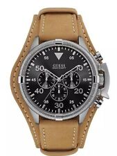 GUESS Men's U0480G4 Multi-Function Watch with Brown Genuine Leather Cuff Strap