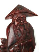 Vintage Antique Chinese Wood Carved Wall Hang Figure Happy Man Fishman Fish