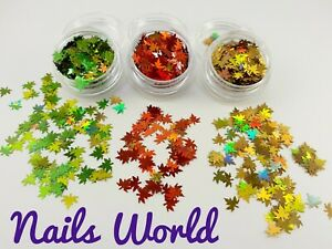 Maple Leaf 12 Colours Nail Art Glitter Flakes Leaves Holographic Autumn Sequins