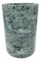 """Vintage Green Marble Natural Stone Vase / Planter / Utensil Holder 7"""" x 4.75"""""""