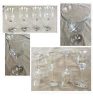 VINTAGE Wine Glasses 8 oz. Clear Swirl Tulip-Shaped Bowl 4-Piece Set