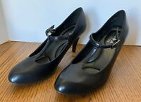 Coach and Four Woman's Black Leather Dress Shoes Size 8 Heeled