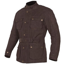 Tuzo Mens Traditional Motorcycle Biker Dry Wax Cotton Jacket Coat Brown XXXL