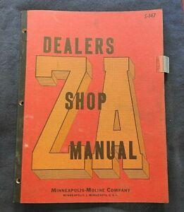 "1949-1953 MINNEAPOLIS MOLINE ""ZA"" TRACTOR SERVICE REPAIR MANUAL NICE ORIGINAL"