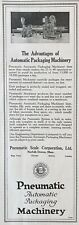1919 AD.(XG18)~PNEUMATIC SCALE CO. NORFOLK DOWNS, MA. AUTO.,  PACKAGING MACHINES