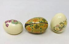 Lot Of 2 Porcelain And 1 Metal Decorative Easter Eggs Floral Painted Garden Leaf