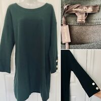 BNWT Massimo Dutti Dark Green Bell Sleeve Knit Dress Size L Uk 14-16 Oversize