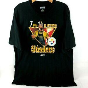 Reebok Steelers Mens 2XL #7 BIG BEN ROETHLISBERGER Football NFL Tee Shirt Black