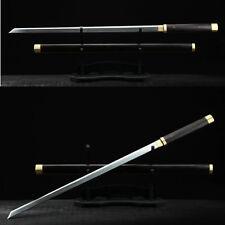 TOP QUALITY JAPANESE SAMURAI NINJA SWORD KIRIHA-ZUKURI DAMASCUS BLADE EBONY SAYA