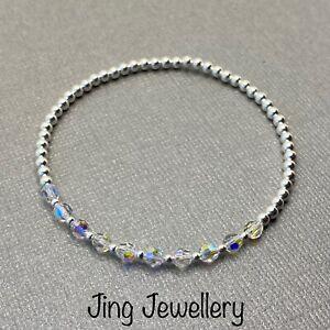 Sterling Silver Sparkly Crystal Beaded Stretch Stacking Bracelet Handmade 925