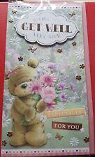 Cute teddy bear garden flowers Get well feel better soon card