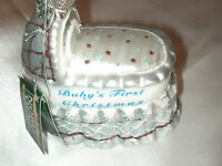 Kurt Adler Noble Gems Hand Blown Glass Baby's First Christmas Ornament