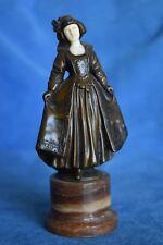 Superb Antique Vienna Bronze Dutch Girl Woman Carved Grand Tour Figure Statue