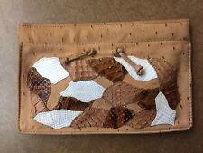 VintageCarlos Falchi Patchwork Brown Leather Reptile Clutch Purse
