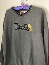 Vtg Looney Tunes Tweety Bird Sweatshirt Embroidered Sz L