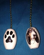One Basset Hound Dog Fan Pull With Paw Prints On The Back 1""