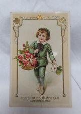 AK Glückwunsch Namenstag Junge mit Korb voller Rosen 1913 gel.