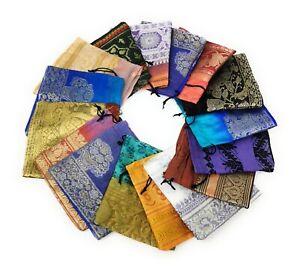 100 Schmuckbeutel Beutel Säckchen Stoff Verpackung 6x6 cm aus Sari Stoff Indien