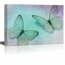 Two Butterflies with Soft Shades of Blue, Purple and Grey - Canvas Art - 16x24