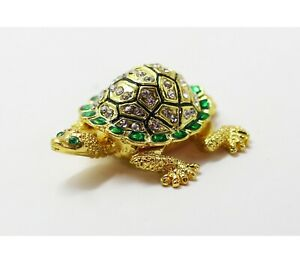 Bejeweled Enameled Animal Trinket Box/Figurine With Rhinestones- Tiny Turtle