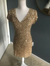 Parker Gold Sequin Mini Dress Size Small