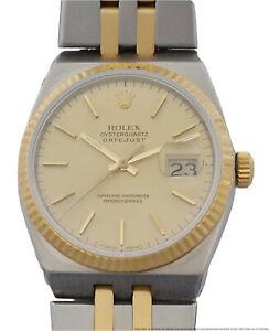 18k Gold SS Rolex Datejust 17013 Oysterquartz Mens Working Wrist Watch w Tag