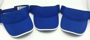 Augusta Sportswear Visor Lot of 3 Blue Adjustable Wicking Mesh Adult  Matching