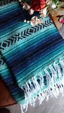Mexican Falsa Blanket Turquoise Blue and Black strips with white fringe XL