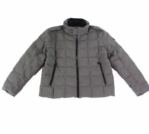 TUMI Mens Jacket Storm Gray Size XL Box Quilted Down Removable Hood $325 194