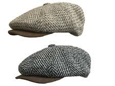 Mens Herringbone Flat Cap Tweed Bakerboy Newsboy Wool Mix Hat Suede Effect Peak