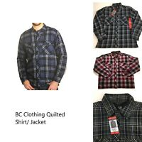 BC Clothing Men's Plaid Shirt Jacket With Quilted Lining Variety