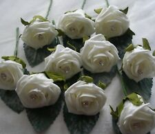 100 Ivory Buttonholes - Wedding Flowers Guest Best man Groom With Diamante