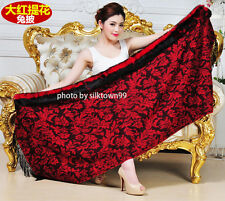 Cashmere Pashmina Shawl Wool Rabbit Fur Jacquard Peony Wrap 4ply Scarf  Red