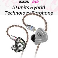 CCA C10 4BA + 1DD Hybrid In Ear Headphones HIFI DJ Monito Racing Sport Earphone