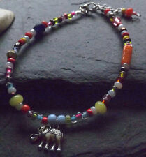 Brightly Coloured Lucky Elephant Charm Anklet Anklet Bracelet Hippy Festival