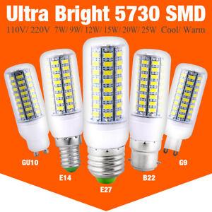 Ultra Bright 5730 SMD LED Corn Bulb Lamp Light White 110V 220V E27 B22 GU10 E14