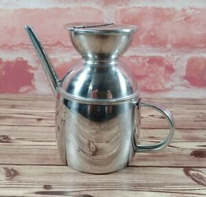 """VTG Olive Oil Dispenser Ipac Inox 18/10 Italy Carafe Stainless Steel 4.75"""" x 3"""""""