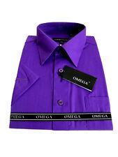 MENS Purple Short Sleeve Dress Shirts ALL SIZES(S~5XL)