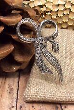 Vintage 925 Sterling Silver Marcasite Gemstone Brooch Pin Fine Jewelry